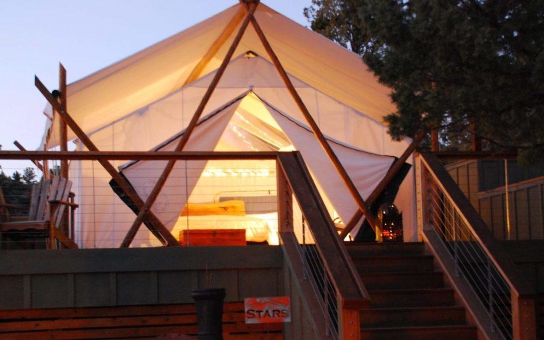 A glamping tent at Panacea at the Canyon near Culver, Oregon.