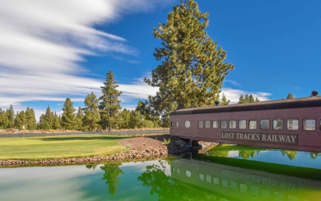 A bridge made from an old railcar at Lost Tracks Golf Club in Bend, Oregon.