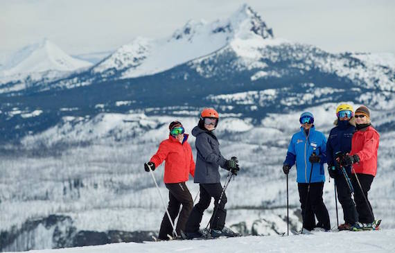 A group of women pose while skiing at Mt. Bachelor near Bend, Oregon.