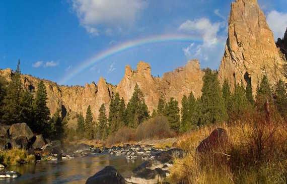 A rainbow over the basalt spires of Smith Rock in Terrebonne, Oregon.