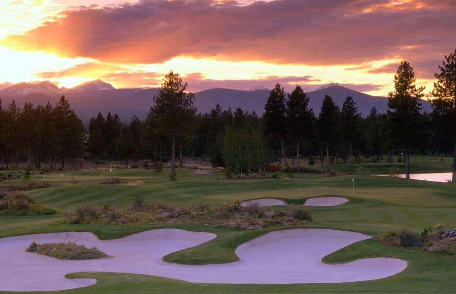 The sun sets over a golf course in Central Oregon.