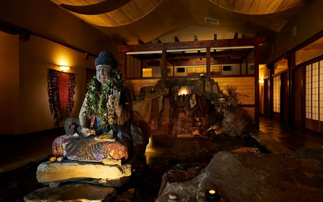 A water feature and Buddha statue at Shibui Spa at FivePine Lodge in Sisters, Oregon.