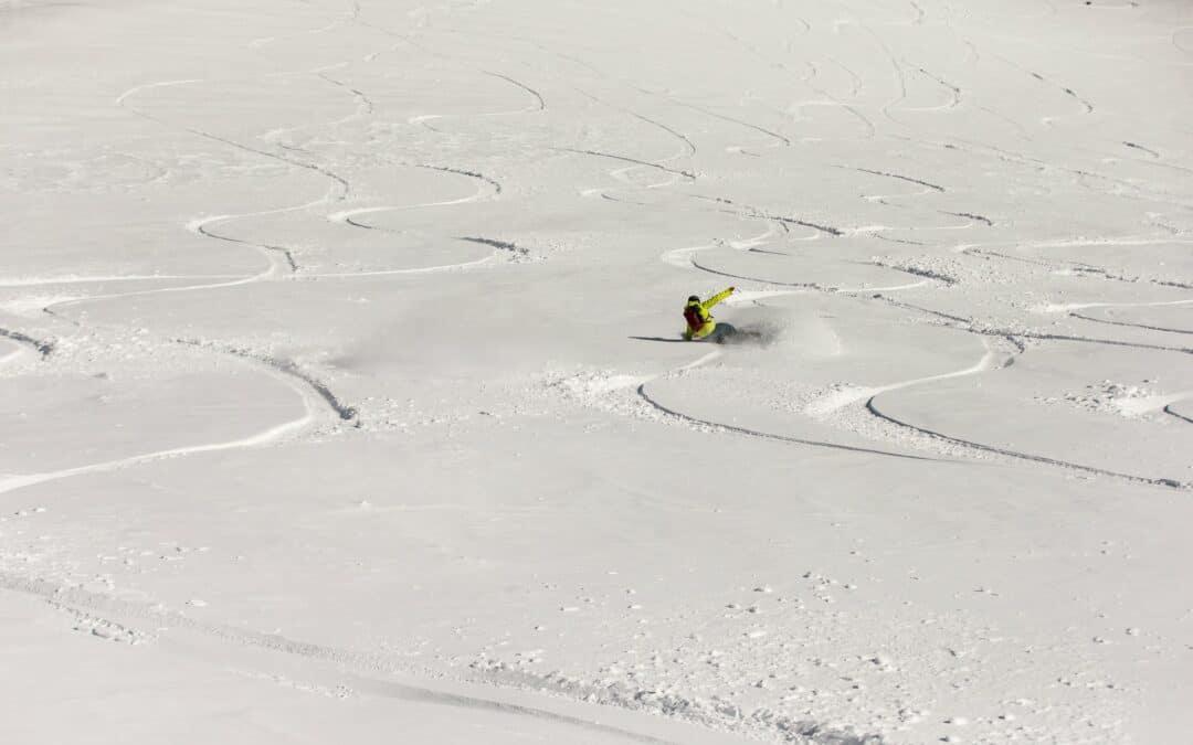 Man backcountry snowboards near Bend, Oregon
