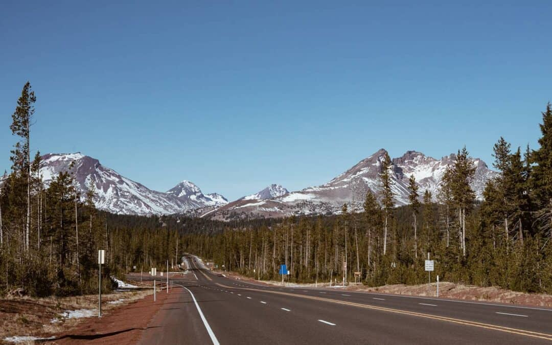 a view of the Three Sisters in Sisters, OR