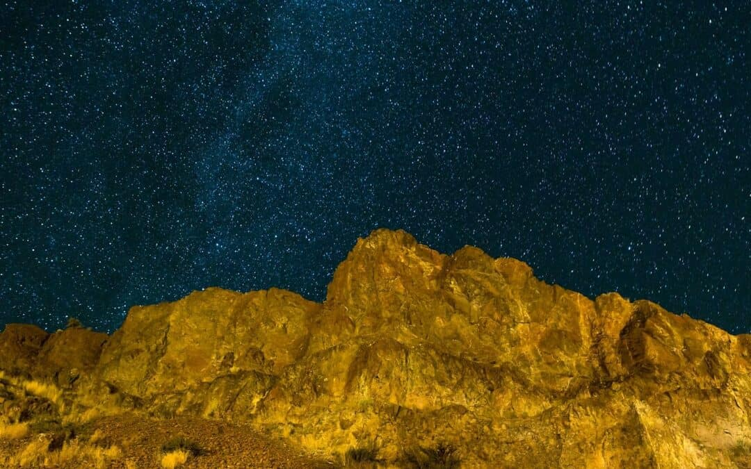 a moon-like scape of Central Oregon at night